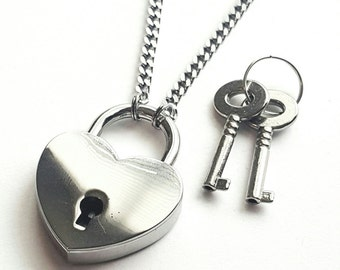 Stainless Steel Discreet Slave BDSM Day Collar Necklace Heart Lock