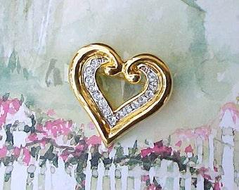 Pretty Vintage Jeweled Heart Shaped Brooch