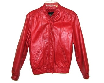 Vintage 70s 80s WILSONS Red Leather Womens Moto Jacket- Size 8