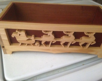 Hand carved wooden Christmas Box