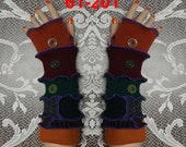Arm warmers, size M, size L, Fingerless, elf coat, Gloves, women, patchwork, Upcycled, Cosplay, Gift, mittens, embroidered, knit,