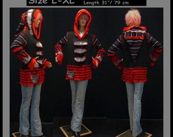 elf sweater, size L, size XL, hiPPIE, steampunk, patchwork, pullover, hoodie