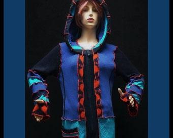 Elf sweater, size L, size XL, hoodie, hiPPIE, steampunk, patchwork, women, gypsy, fairy