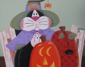 Halloween Cat on wreath, door hanger, fall decor, pumpkins, handpainted, purple