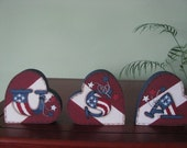 Patriotic, hearts, 4th of July, July 4th, Americana, shelf sitters, USA