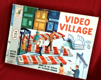 Video Village Game, Vintage Milton Bradley 1960s TV Game Show Game
