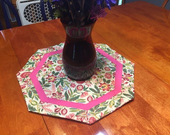 Table Runner, Handmade Round Pink with a floral Design table runner by MarlenesAttic