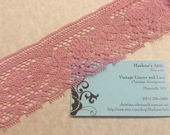 1 yard of 2 1/2 inch Mauve Pink Chantilly Lace trim with a heart design for valentines, sweetheart, wedding by MarlenesAttic - Item 6AA