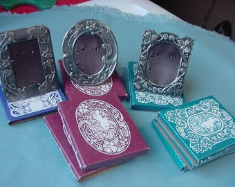 Lot 8 Vintage 1983 Lillian Vernon Small Picture Frames, Silver Plated Brass, 3 Styles