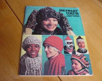 Vintage 1977 Bernat Hats, Scraves & Mittens, Book No. 231, Crochet, Knit Patterns, Knitting, Crafting
