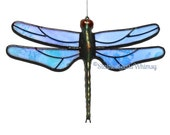 Stained Glass DRAGONFLY Suncatcher - Rainbow Iridescent Light Blue Wings - USA Handmade Original, Light Blue Dragonfly, Blue Fire Fly