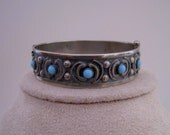 Vintage Hinged Silver Bracelet Bevel-set Aqua, Wire Work, Oxidized