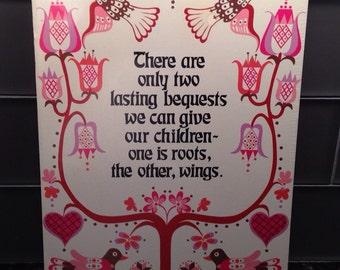 Vintage New 1970s Abbey Press St. Meinrad Plaque ~ Children ~ Roots Wings Birds