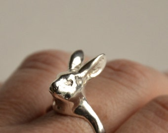 no.RI01_16. Rabbit ring, sterling silver, brass, anillo de conejo, fantasy ring