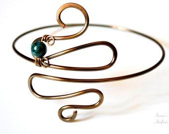 Upper arm cuff Egyptian Grecian body jewelry Wire Armband Gemstone armlet Spiral upper arm bracelet Greek Goddess jewelry Top selling items