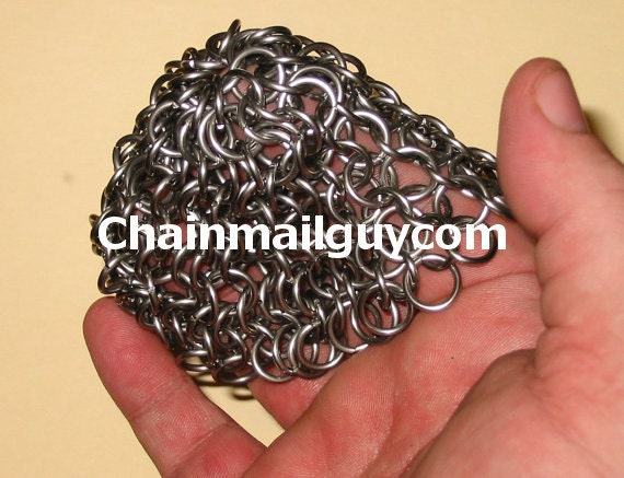 Chain Mail Pot Scrubber Stainless Steel Round