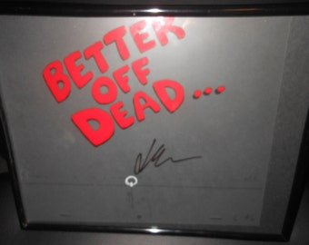 Screen Used TITLE SCREEN cel - Better Off Dead - signed by John Cusack - 1 of a kind  - 1980's movie