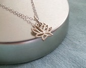 Lotus Necklace. Sterling Silver Necklace. Tiny Lotus Charm. Dainty Delicate. Everyday. Layering Necklace Rebirth Symbol
