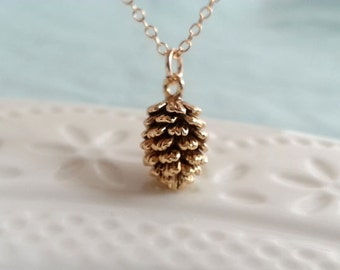 Gold Plated Pinecone Charm Necklace. Small Pinecone Charm. Gold Filled Chain. Christmas Gift. Layering Layered Necklace. Shop UK Gift