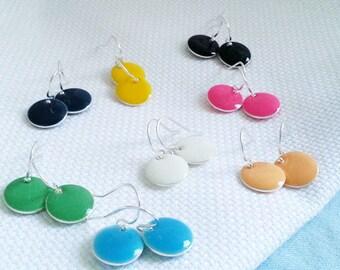 SALE Round Disc Earrings. Enamel Disk Earrings. Dainty Delicate. Drop Earrings. Dangle Dangly Earrings
