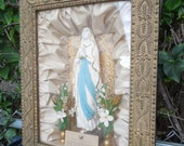 Shrine to the Blessed Virgin Mary Antique Shadowbox Picture Frame Religious Statue