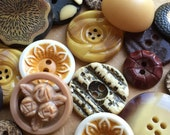 vintage eco friendly and nos buttons in maize yellow cream black and tan--mixed lot of 20