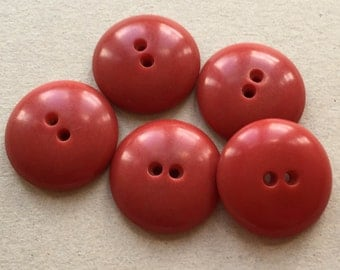mildly distressed faded red domed eco friendly vintage buttons--matching lot of 5