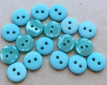 romantic french blue cottage chic eco friendly buttons//matte and moon glow//two styles--mixed lot of 18