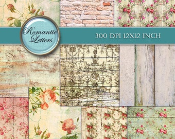 Floral Digital Scrapbook Paper Shabby Chic rose flower printable decoupage paper digital Shabby chic digital background floral decoupage