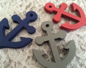 Anchor Die Cuts, Anchor Tags, Jumbo Anchor Confetti in Navy Blue, Red and Gray - Nautical Wedding, Birthday Party - Set of 30