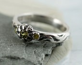 Unique Artisan Ring - Silver Half Round Ring - Mermaid's Dreams - hand carved in Size 6 3/4