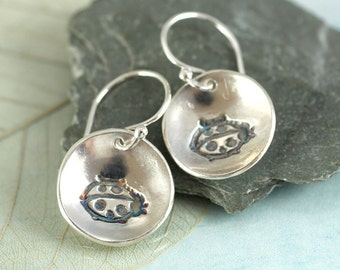 Ladybird Silver Earrings - Fine Silver Dangle Charms - Nature Jewelry