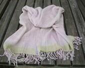 Handwoven Shawl,Wool, Silk, Cotton Pearl - Pastel Pink - White - Fringe - Wool Scarf - Cream Shawl - Autumn - Cool Summer Shawl -by Handloom