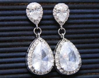 Teardrop Pear Dangle Cubic Zirconia Earrings, Bridal Earrings, Wedding Bridesmaids Earrings, Stud Earrings, Christmas Gift, Birthday Gift