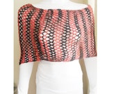 Black and Red Hand crochet Lacy Shoulder Shrug, Every Season, Shawl.mother day,Clothing & Accessories