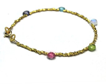 Beaded Gemstone Bracelet. Simple Briolette Stacking Bracelet. Gold Fill or Sterling Silver. B-1916