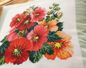 L - HOLLYHOCKS -PILLOW/CUSHION - Cross Stitch Pattern Only