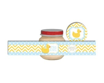 Duck Baby Food Jar Labels-Baby Shower/Birthday Parties-INSTANT DOWNLOAD
