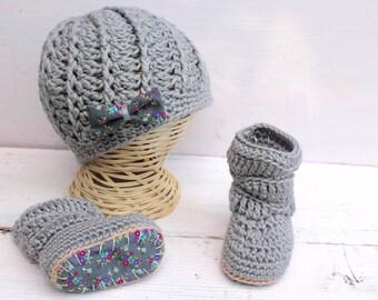 Baby Girl Set,  Crochet Baby Boots, Baby Girl Clothes, Baby Girl