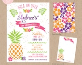Hawaiian Luau Birthday Invitation Kit - Invite AND Thank You Card included