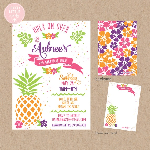 Hawaiian Luau Birthday Invitation Kit - Invite AND Thank You Card included