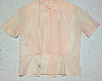 1940s Sheer Blouse 40's Embroidered Nylon Nipped Waist Blouse