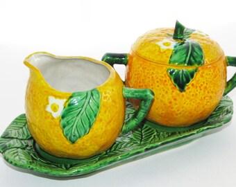 RESERVED for GY - Vintage Orange Cream and Sugar Set Maruhon Occupied Japan Orange Citrus Fruit Creamer and Sugar Bowl Set