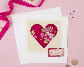 Heart card - Personalised valentine's day card - Wedding card - Anniversary card - Love card - appliqué card - Textile card - Embroider card