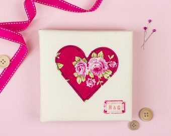 Personalised Heart artwork on mini canvas