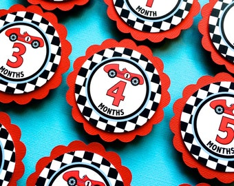 Custom Race Car New Born To 12 Months Photo Clips...Photo Pegs....Set Of 13...RIBBON INCLUDED