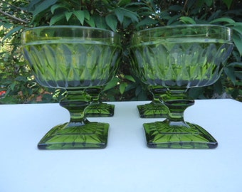 Indiana Glass Green Sherbet Cups Set of 4 Mt Vernon Pattern 1960's - 1980's Vintage