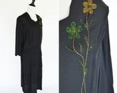 Vintage 1930's Black Beaded Day Dress - Black Mourning Dress - Beaded Embellished Dress - Chic Black 30's  Dress - Ladies Size Large