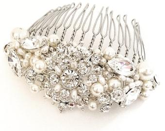 The Princess Hair Comb, Diamond Bridal HairComb, Bridal Comb, Silver Rhinestone and Pearl Hair Comb, Rhinestone Bridal Hair Comb, tiara