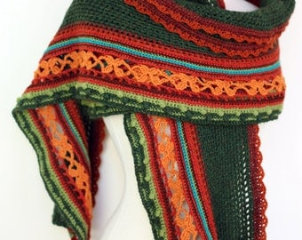Extra Long Lace Scarf in Plush Peruvian Highland Wool